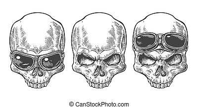 Skull with glasses for motorcycle. Black vintage vector illustration. For poster and tattoo biker club. Hand drawn design element isolated on white background.