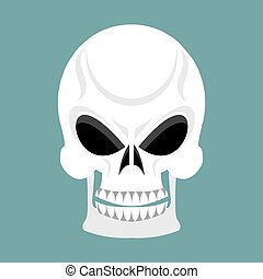 Skull with grin. skeleton head isolated. cranium in green ...