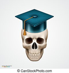 Skull with hat. Vector