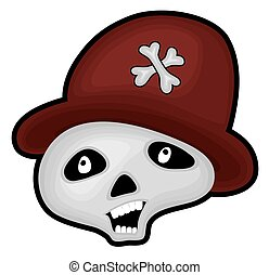 Skull with Hat Vector
