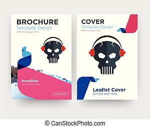 skull with headphone brochure flyer design template