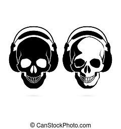 Skull with headphone