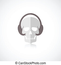Skull with headphones icon