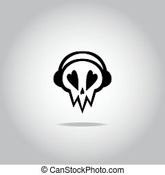 Skull with headphones icon, logo