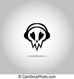 Skull with headphones icon, logo