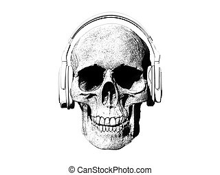 Skull with headphones isolated in background 3d render
