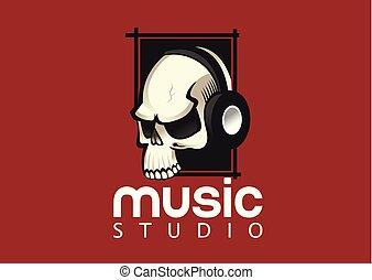 Skull with headphones vector logo design template