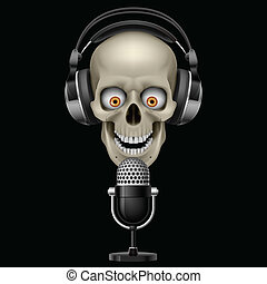 Skull with headphones with microphone