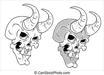 Skull with Horn Vector Illustration