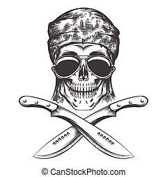 Skull with machete - Human skull with machete. Vector...