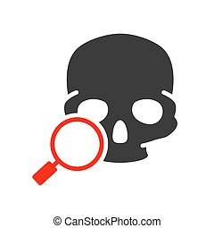 Skull with magnifying glass colored icon. Cranium research, bone structure of the head symbol