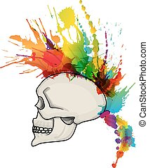 Skull with mohawk hair style made of colorful grunge splashes