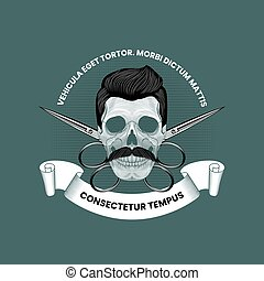 Skull with mustaches and crossed scissors. Barbershop emblem template in vintage style.