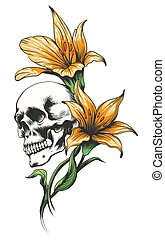 Skull with Orchid Flowers