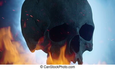 Skull With Raging Fire And Smoke - Skull on pole with flames...