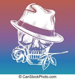 Skull with rose on colorful backdrop