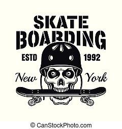 Skull with skate deck in teeth vector emblem