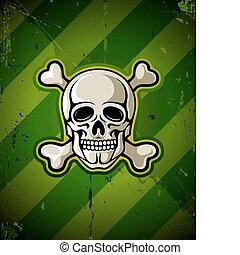 skull with skeleton bones on grunge military background...