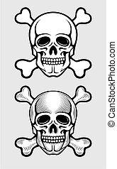 skull with skeleton bones piratic symbol illustration