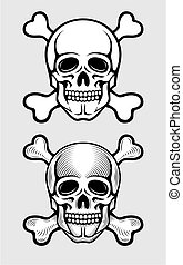 skull with skeleton bones piratic symbol illustration