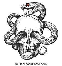 Skull with Snake Tattoo - Skull and Snake. Tattoo art Hand ...