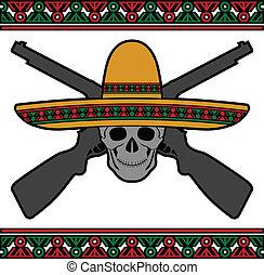 skull with sombrero and guns - skull with sombrero and guns....
