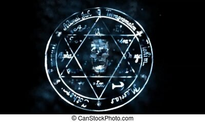 skull with star of David,shine particles & lightning.
