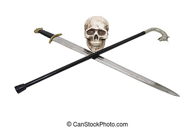 Skull with sword and cane