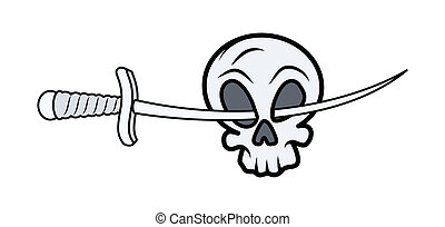 Skull with Sword in Eyes - Vector
