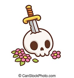 Skull with sword tattoo