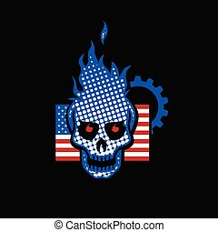 Skull with the USA flag