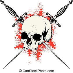 skull with two crossed daggers