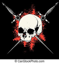 skull with two crossed daggers on black and red background