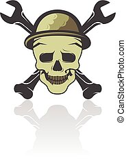 Skull with two crossed wrench vector logo design.