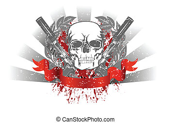 skull with two pistols