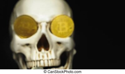 Skull with US Dollar bills in his mouth, bitcoins on the eyes. dark background
