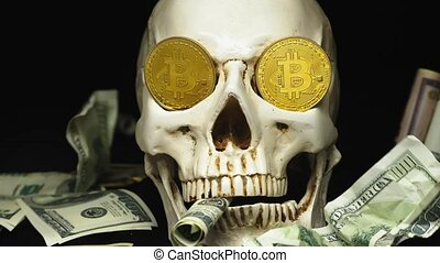 Skull with US Dollar bills in his mouth. bitcoins on the...