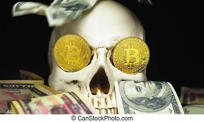 Skull with US Dollar bills in his mouth. bitcoins on the eyes.