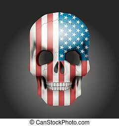 Skull with USA flag - Skull with texture USA flag. Vector...