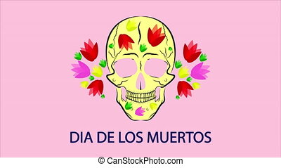 Skull with vibrant Mexican flowers for Day of the Dead Dia de los muertos, art video illustration.