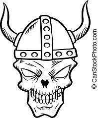 skull with viking helmet