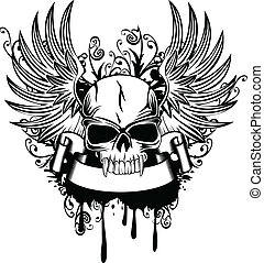 skull with wings 1 - Vector image skull with wings and...