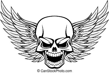 Danger smiling skull with wings for tattoo design