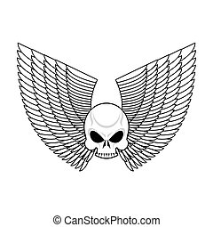 Skull with wings emblem. Flying skeleton head logo