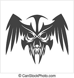 skull with wings in tribal style