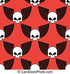 Skull with wings seamless pattern. Background of winged head skeleton. Fabric texture for Rock musicians.