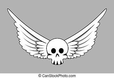 Skull with Wings - Vector Cartoon