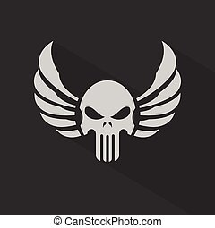 Skull with Wings, Vector