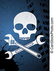 Vector skull with wrenches on blue background