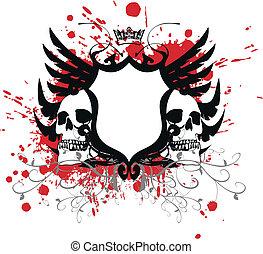 skull7, agasalho, heraldic, braços